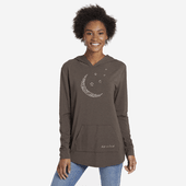 Women's Supreme Moon Pattern Supreme Hooded Pullover