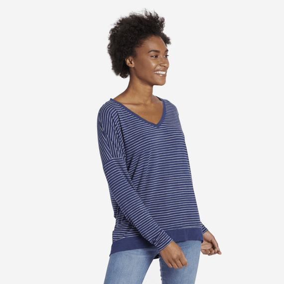 Women's Stripe Supreme Wide Vee Pullover