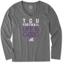 Women's TCU Horned Frogs Infinity Football Long Sleeve Cool Vee