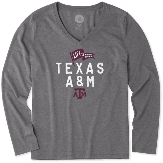 Women's Texas A&M Aggies Pennant Long Sleeve Cool Vee