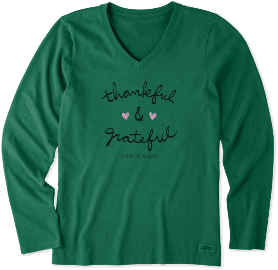 5a4ce4f5 Women's Thankful And Grateful Long Sleeve Crusher Vee