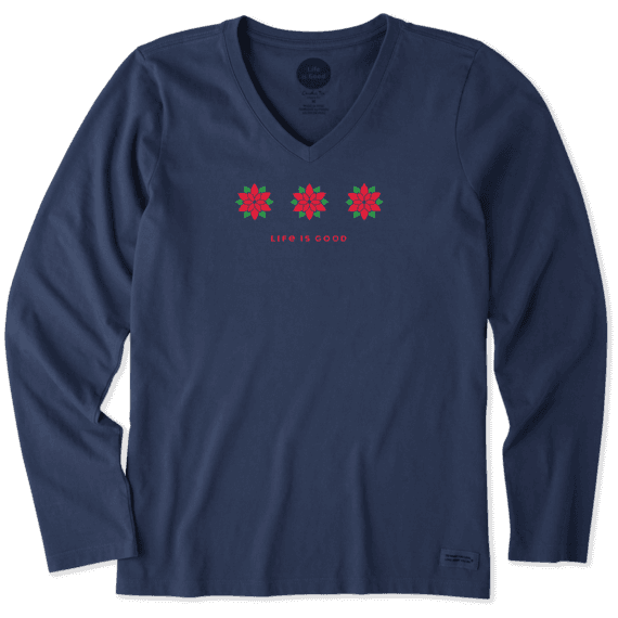 Women's Three Poinsettias Long Sleeve Crusher Vee