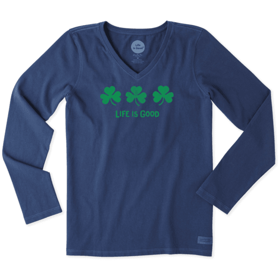 Women's Three Shamrocks Long Sleeve Crusher Vee