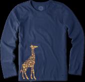Women's Tile Giraffe Long Sleeve Crusher Tee
