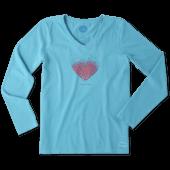 Women's Tiny Hearts Long Sleeve Crusher Vee