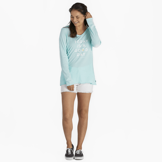 Women's Today Is a Good Daisy Long Sleeve Hooded Smooth Tee