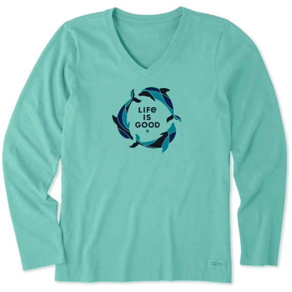 Women's Tri Dolphins Long Sleeve Crusher Vee
