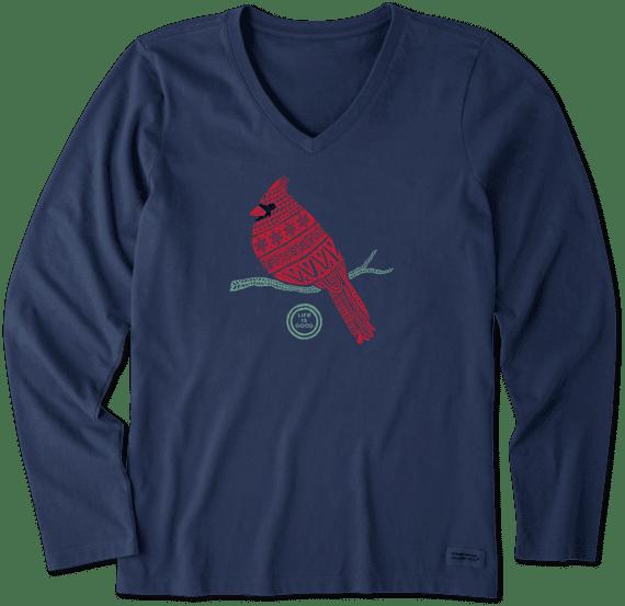 Women's Tribal Cardinal Long Sleeve Crusher Vee