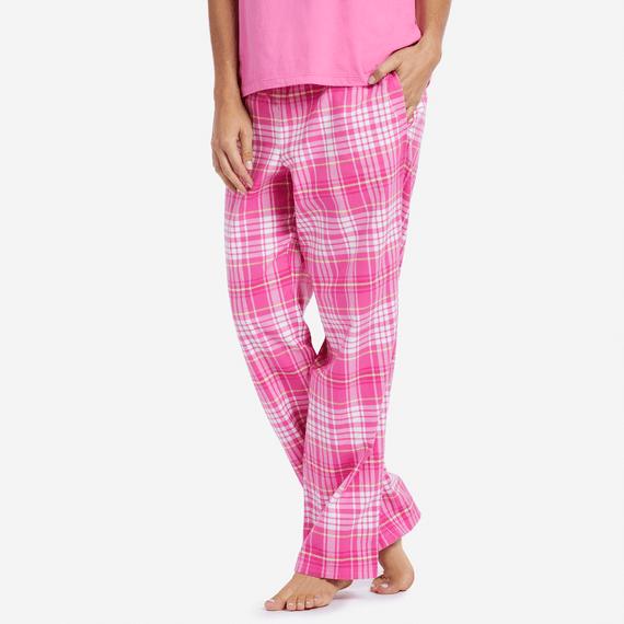 Women's Tropical Pink Plaid Sleep Pants