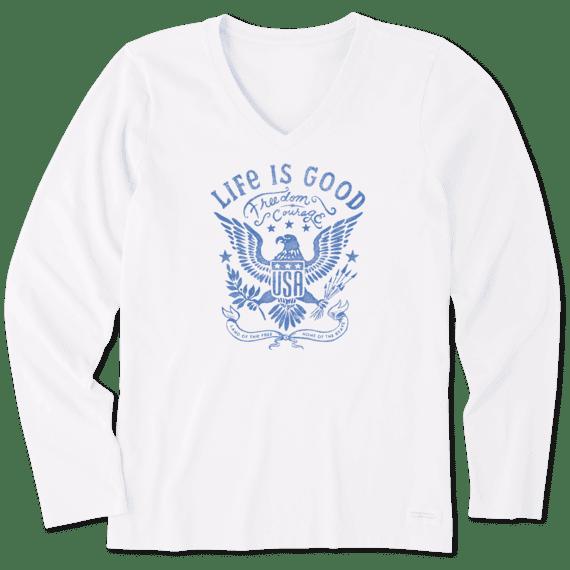 Women's USA Eagle Long Sleeve Crusher Vee