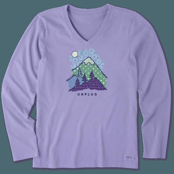Women's Unplug Mountain Pattern Long Sleeve Crusher Vee