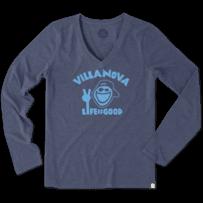 Women's Villanova University Peace Jake Long Sleeve Cool Vee