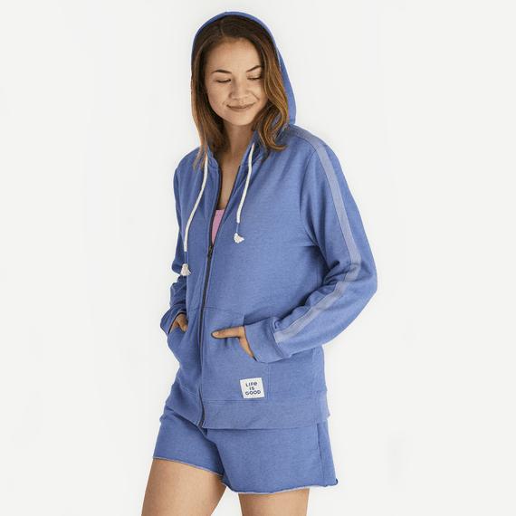 Women's Vintage Blue Simply True Zip French Terry Hoodie