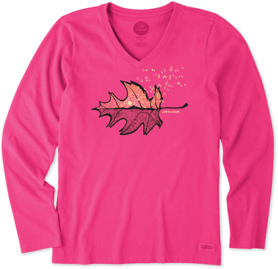 Women's Vista Leaf Long Sleeve Crusher Vee