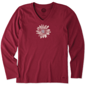 Women's Watercolor Daisy Crusher Vee Long Sleeve