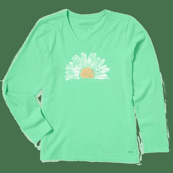 Women's Watercolor Daisy Long Sleeve Crusher Vee