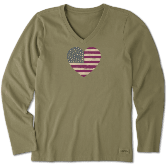 Women's Watercolor Flag Heart Long Sleeve Crusher Vee