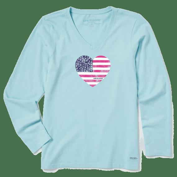 Women's Watercolor Flag Heart Long Sleeve Crusher Vee