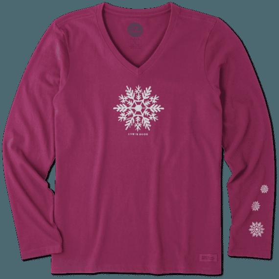 Women's Watercolor Snowflake Long Sleeve Crusher Vee