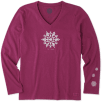Women's Watercolor Snowflake Long Sleeve Crusher Vee