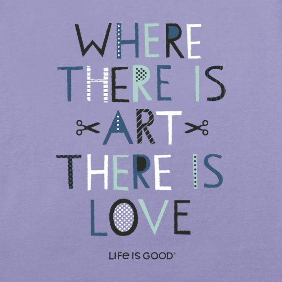 Women's Where There is Art, There is Love Long Sleeve Crusher Vee