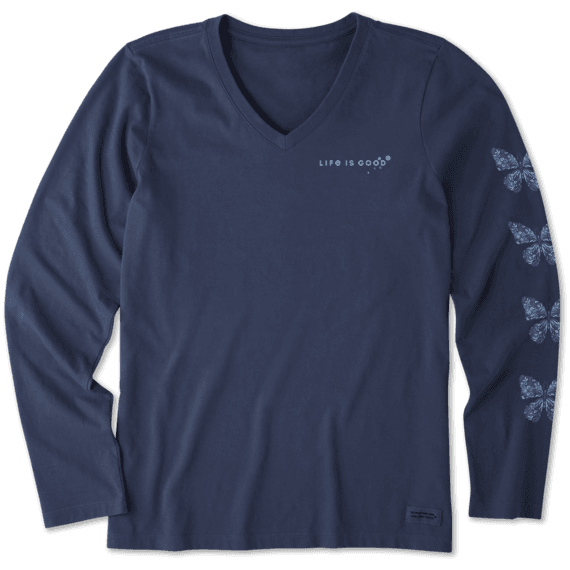 Women's Wildflower Butterfly Long Sleeve Crusher Vee