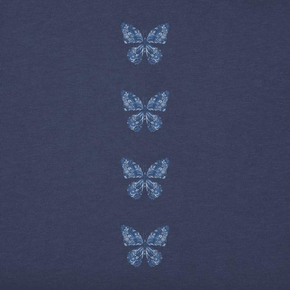 Women's Wildflower Butterfly Long Sleeve Crusher Vee