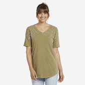 Women's Wildflower Embroidery Freestyle Wash V-neck Tunic