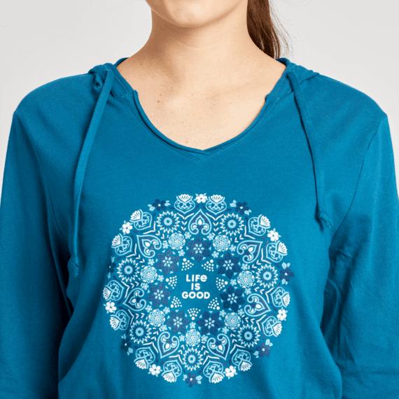 Women's Wildflower Primal Mandala Long Sleeve Hooded Smooth Tee