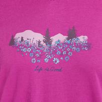 Women's Wildflower Watercolor Hooded Long Sleeve Smooth Tee