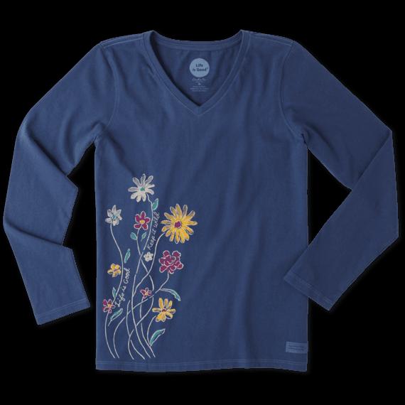 Women's Wildflowers Long Sleeve Crusher Vee