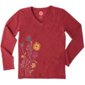 Women's Wildflowers Long Sleeve Crusher Vee