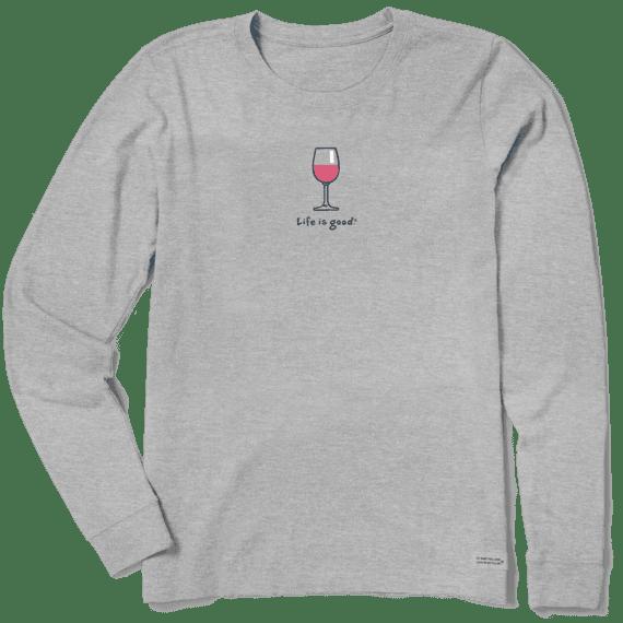 Women's Wine Glass Long Sleeve Vintage Crusher Tee