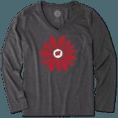 Women's Wisconsin Daisy Long Sleeve Cool Vee