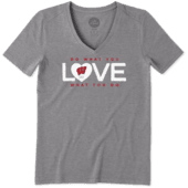 Women's Wisconsin Do What You Love Heart Cool Vee