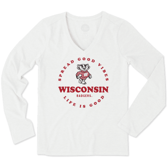 Women's Wisconsin Good Vibes Circle Long Sleeve Cool Vee