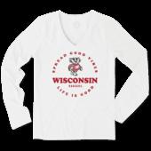 Women's Wisconsin Good Vibes Circle Long Sleeve Cool Vee