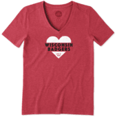 Women's Wisconsin Heart Knockout Cool Vee