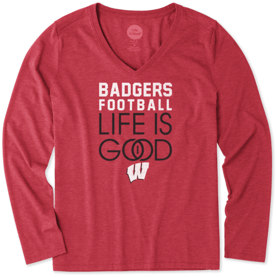 Women's Wisconsin Infinity Football Long Sleeve Cool Vee