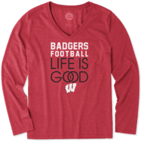 Women's Wisconsin Infinity Football Long Sleeve Cool Vee