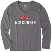 Women's Wisconsin Pennant Long Sleeve Cool Vee