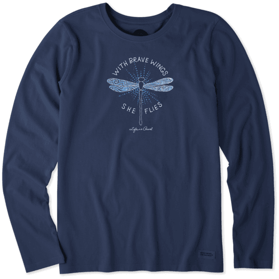 Women's With Brave Wings Long Sleeve Crusher Tee