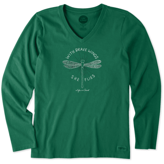 Women's With Brave Wings Long Sleeve Crusher Vee