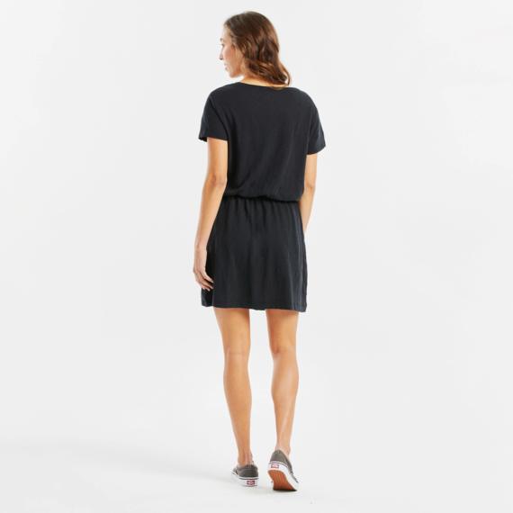 Women's Ballyard Positive Lifestyle Textured Slub Short-Sleeve Drawstring Dress