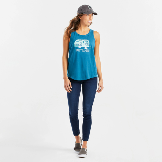 Women's Floral Happy Camper High-Low Crusher Tank