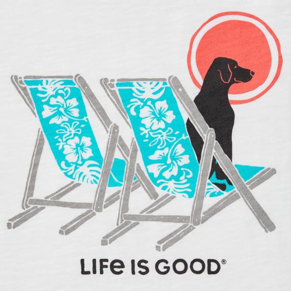 Women's Hibiscus Beach Chairs With Dog Textured Slub Tank