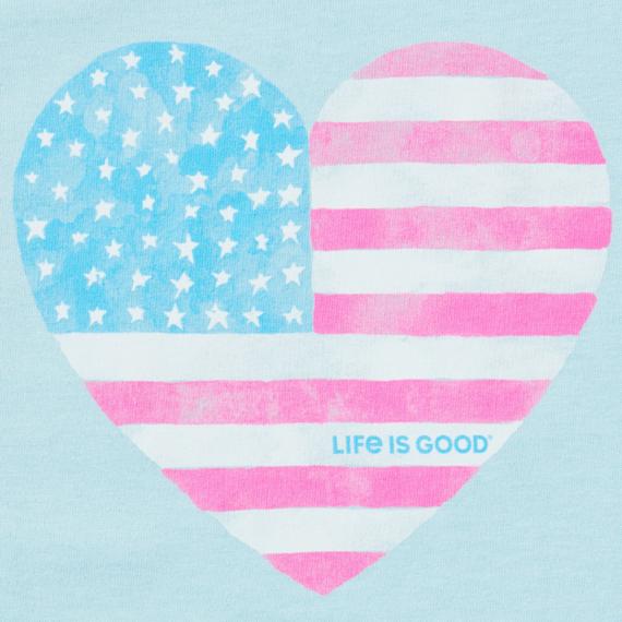 Women's Watercolor Flag Heart High-Low Crusher Tank